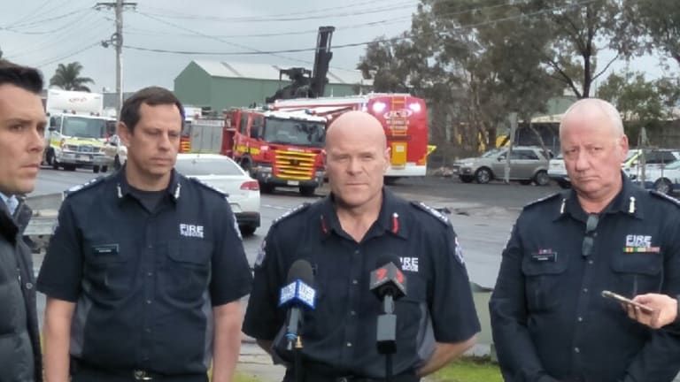 MFB chief Dan Stephens at the scene of the West Footscray blaze.