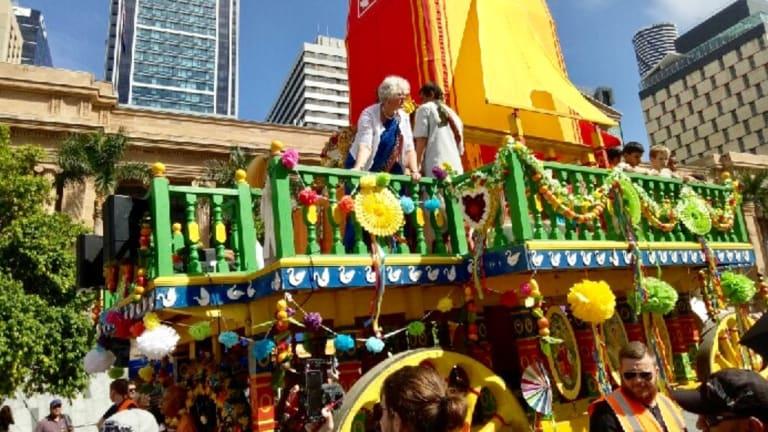 The Hare Krishna Festival of Chariots in Brisbane CBD.