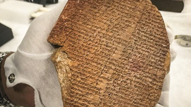 A portion of the Epic of Gilgamesh that was looted from Iraq and sold for $1.6 million to Hobby Lobby for display in the Museum of the Bible.