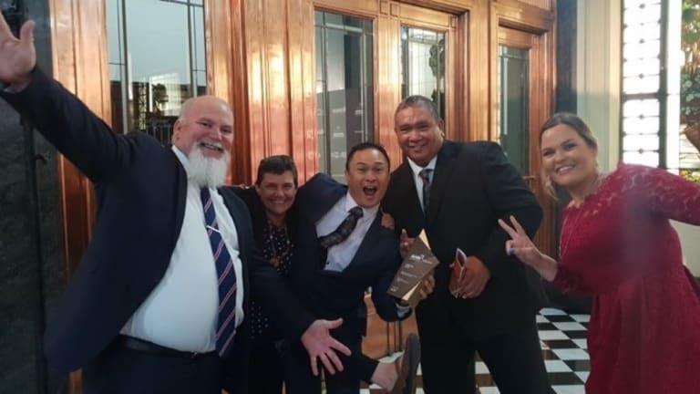The very happy - and award-winning - Indigenous Employment Strategies Team: team leader Craig Leon, Julie Crane, Robbie Enchong, Oscar Enchong and Sharna Bartley.