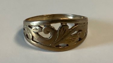 The ring the elderly woman had with her when she was found earlier this month.