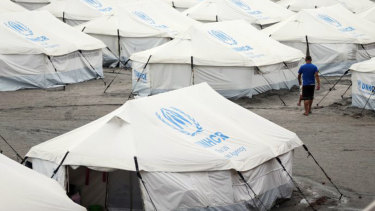 Venezuelan migrants are housed in temporary UNHCR accommodation in Boa Vista, Roraima, Brazil.