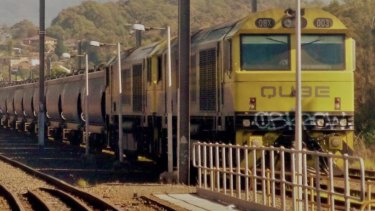 The runaway freight train at Port Kembla after the incident in April last year.