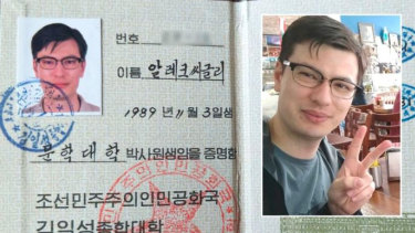 An image that appears to be from Alek Sigley's passport posted on Twitter.