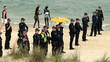 Police were out in force at Chelsea beach after a night of violence.