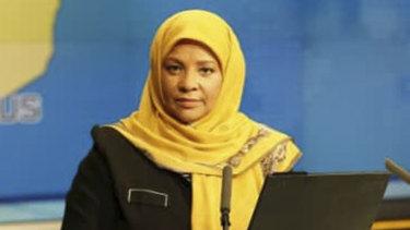 Iranian state television's English-language service, Press TV, shows American-born news anchor Marzieh Hashemi at a studio in Tehran, Iran.