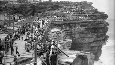 THEN The Gap lookout in 1961. Ninety years earlier, the area served as a military garrison when work began to build coastal artillery emplacements to defend the Port of Sydney