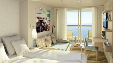 A cabin on the Greg Mortimer cruise ship.