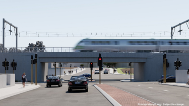 An artists impression of the new underpass that will replace the Denny Avenue level crossing.