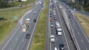 The view from a south-facing traffic camera above theBruce Highway at Caboolture, north of Brisbane.