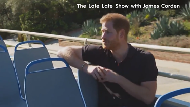 "Prince Harry's interview with James Corden, host of the ""Late Late Show"" in the United States."