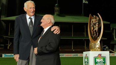 Bond: Arthur Summons with Norm Provan and the trophy bearing their likeness in 2013.
