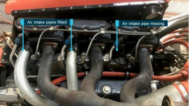 The missing air intake pipe.