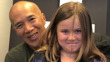 Renowned brain surgeon Charlie Teo with Ella Ford who needs surgery to remove a 22mm symptomatic pineal cystic brain tumour.