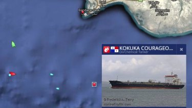 A live image from Marine Traffic shows the location of Kokura Courageous off the coast of Iran.