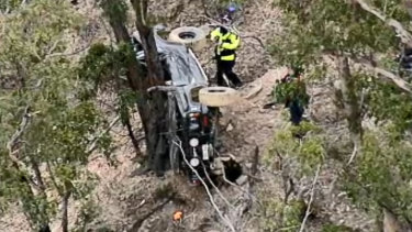 Caleb Forbes and Shannon Lowden's crashed four-wheel-drive was found near Thomson Dam after days of searching.