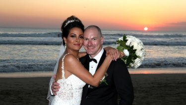 Matt Goland, 38, and Bita Zaeim, 32, after their wedding in Bali.