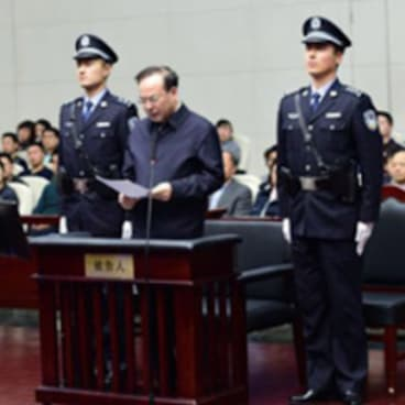 Sun Zhengcai. appears in court in Tianjin.
