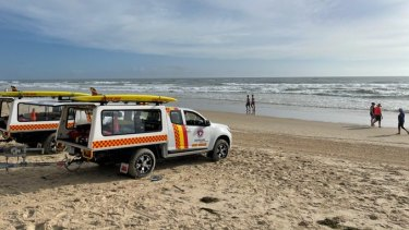 Surf lifesavers assisting in a multi-agency air and sea search for a man missing from the beach at Surfers Paradise on the Gold Coast after an early morning swim on Sunday, December 20.