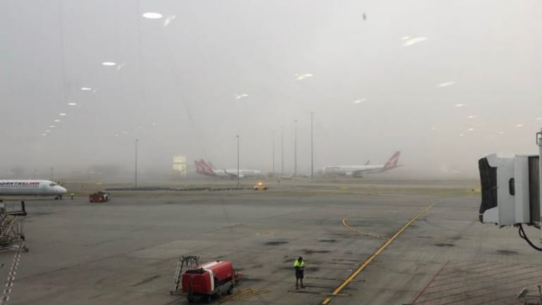 Foggy conditions at Perth Airport this morning. Minor boarding delay to a Sydney bound flight, as the aircraft is towed to the gate. No apparent delays to departure times.