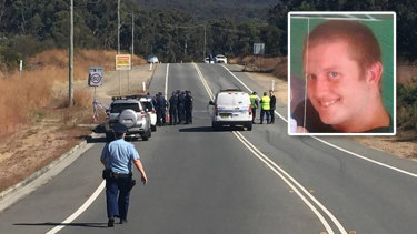 Police found Wade Still (inset) badly burnt on the side of a road in Whitebridge, Lake Macquarie, on Monday