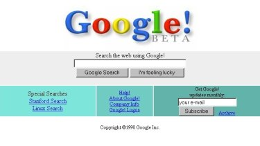 What Google Search looked like at launch, in 1998.