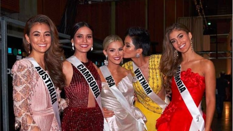 Miss Australia Francesca Hung, left, was captured in a video with Miss USA and Miss Colombia commenting on other contestants' lack of English.