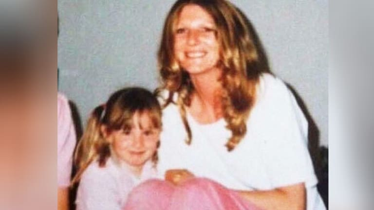 A young Sarah on the left with her mum Trish, who has since passed away.