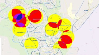 ACT ESA map shows the intensity of job call-outs after Friday's storm - the darker colours representing the most jobs.
