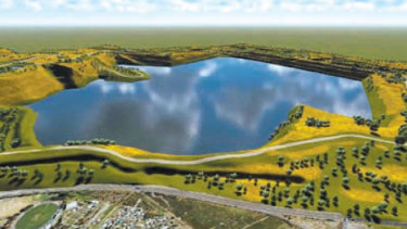 An artist's impression of Hazelwood coal mine as a pit lake.