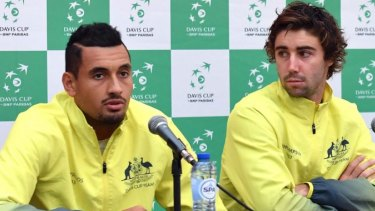 Budding rivalry: One-time Davis Cup teammates Nick Kyrgios and Jordan Thompson will square off on Tuesday.