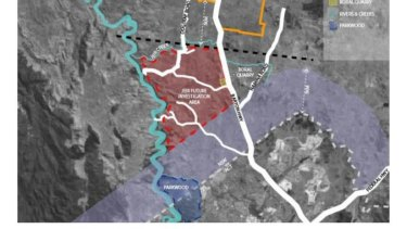 "The Yass council's 5km buffer zone north of the ACT's border where development will be frozen for 20 years, in purple, with the exemption carved out for Ginninderry at bottom left. The proposed ""Jeir"" development area in red has been abandoned."