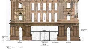 The original plans for the new Creek Street entrance way to the heritage-listed NAB Building which have been rejected.