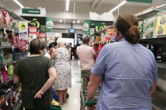 Queues in a Shepparton supermarket on Friday afternoon.
