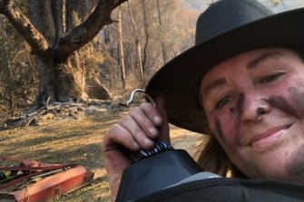 Petra  Campbell on her block after the recent fires.