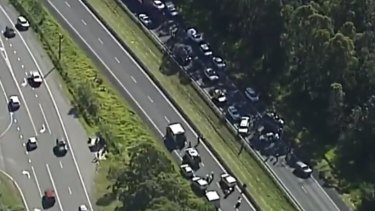 Emergency services were on both sides of the highway, causing traffic delays.
