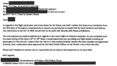 An email from Commissioner Chris Dawson to Kerry Stokes' private secretary.
