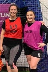Sarah Bull (left) at a Soccer Mums session in Geelong with daughter Amber.