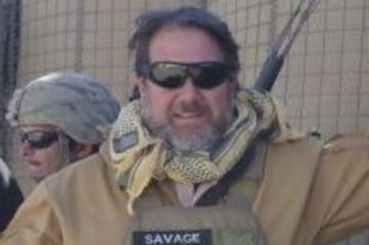 David Savage in Afghanistan, before he was injured by a child who was a suicide bomber.