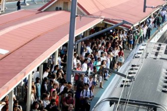 Passengers are urged to spread along station platforms to help ease the flow of people on and off trains.