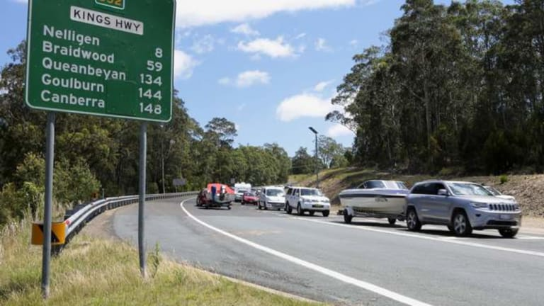 Traffic banked up on the Kings Highway on the way into Batemans Bay is a familiar sight in holiday periods.