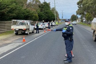 Vehicle checkpoints on the Surf Coast on Thursday.