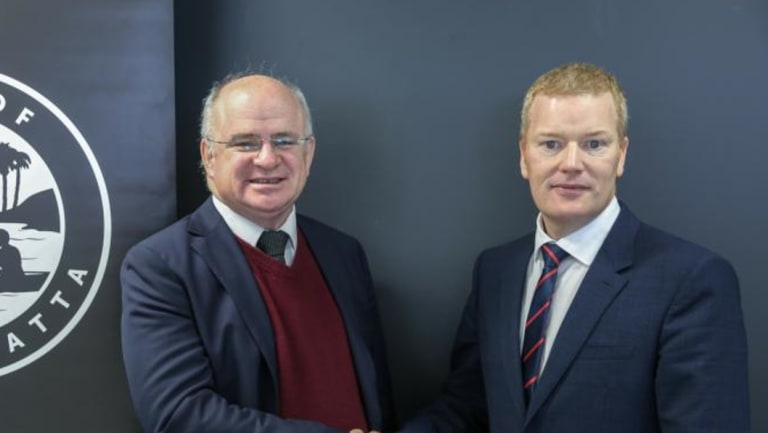 City of Parramatta mayor Andrew Wilson (left) with CEO Mark Stapleton.