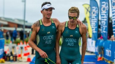 Positive test: Guide Stephen Thompson (left) with visually impaired triathlete Gerrard Gosens.