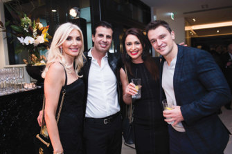 Heritage Care directors and shareholders Areti and Peter Arvanitis, and Stacey and Tony Antonopoulos at the launch of the new Rolls-Royce luxury showroom in Richmond, Melbourne in 2017.