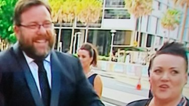 Deb Fryers on the red carpet with Shane Jacobson in December 2016.