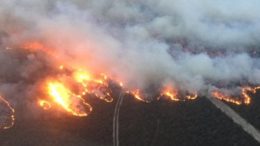 The Rosedale fire in Gippsland on Friday night.