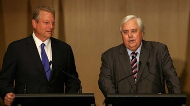 Clive Palmer at his Parliament House press conference with former US vice-president Al Gore in June 2014.