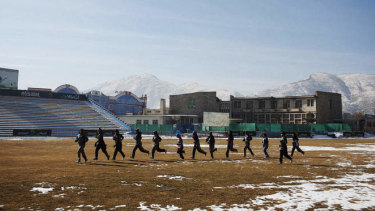 The Afghan women's cricket team train in Kabul.