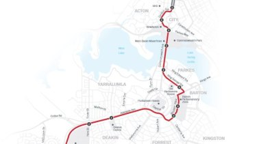 A map of the ACT government\'s preferred stage two light rail route through Parkes and Barton